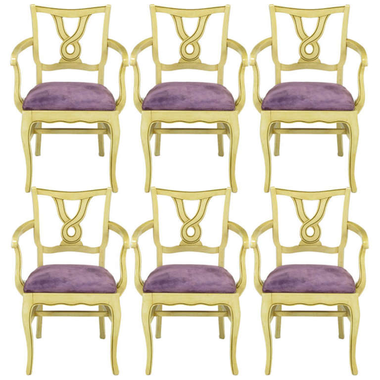 Six Ivory Glazed Regency Dining Armchairs For Sale