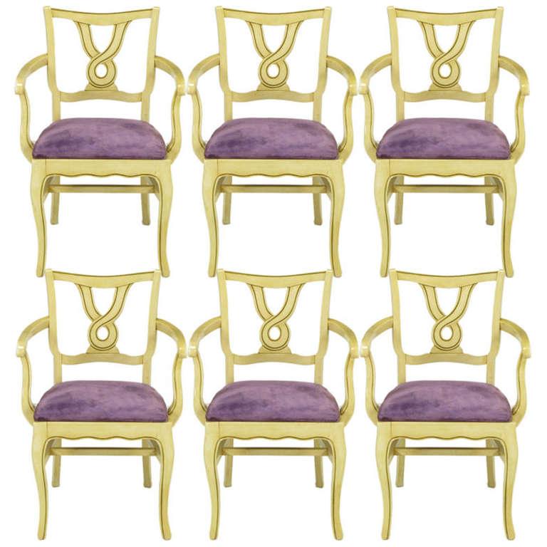 Six Ivory Glazed Regency Dining Armchairs