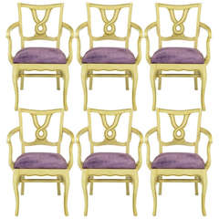 Six Ivory Glazed Regency Dining Armchairs