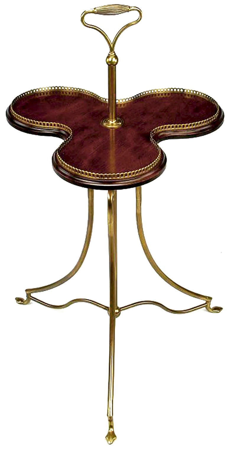 A beautifully executed replica of an 1880s English revolving confection server in mahogany and brass. The tray rises on a post for serving. Certificate of historical accuracy by Jack Patla, AADLA.