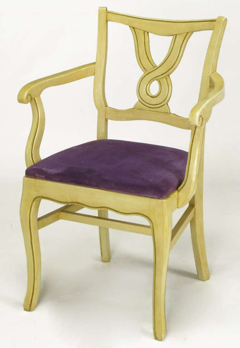 American Six Ivory Glazed Regency Dining Armchairs For Sale