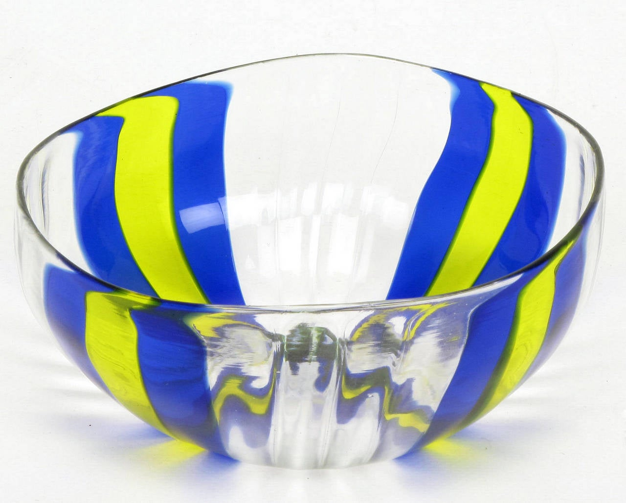 Italian handblown art glass vase with bowl by oggetti for sale at handblown art glass vase measuring 9 tall x 8 diameter in yellow blue reviewsmspy