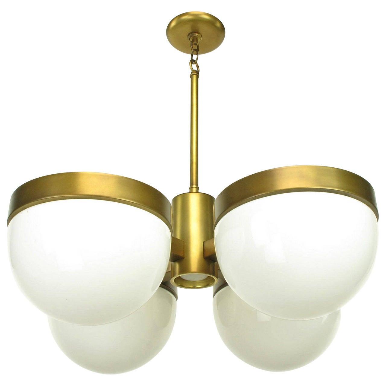 Feldman Lighting Five-Light Hemispherical Milk Glass and Brass Pendant