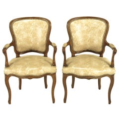 Pair of Walnut Louis XV Style Armchairs in Faux Python