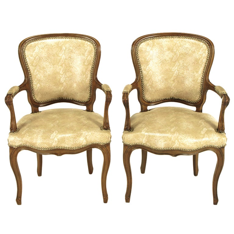 Pair of Walnut Louis XV Style Armchairs in Faux Python For Sale