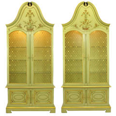 Pair of John Widdicomb Glazed Light Green Tall French Regency Display Cabinets