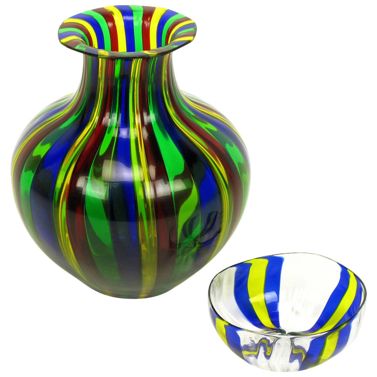 Italian Handblown Art Glass Vase with Bowl by Oggetti