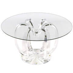 Open Rib Melon Form Lucite and Glass End Table