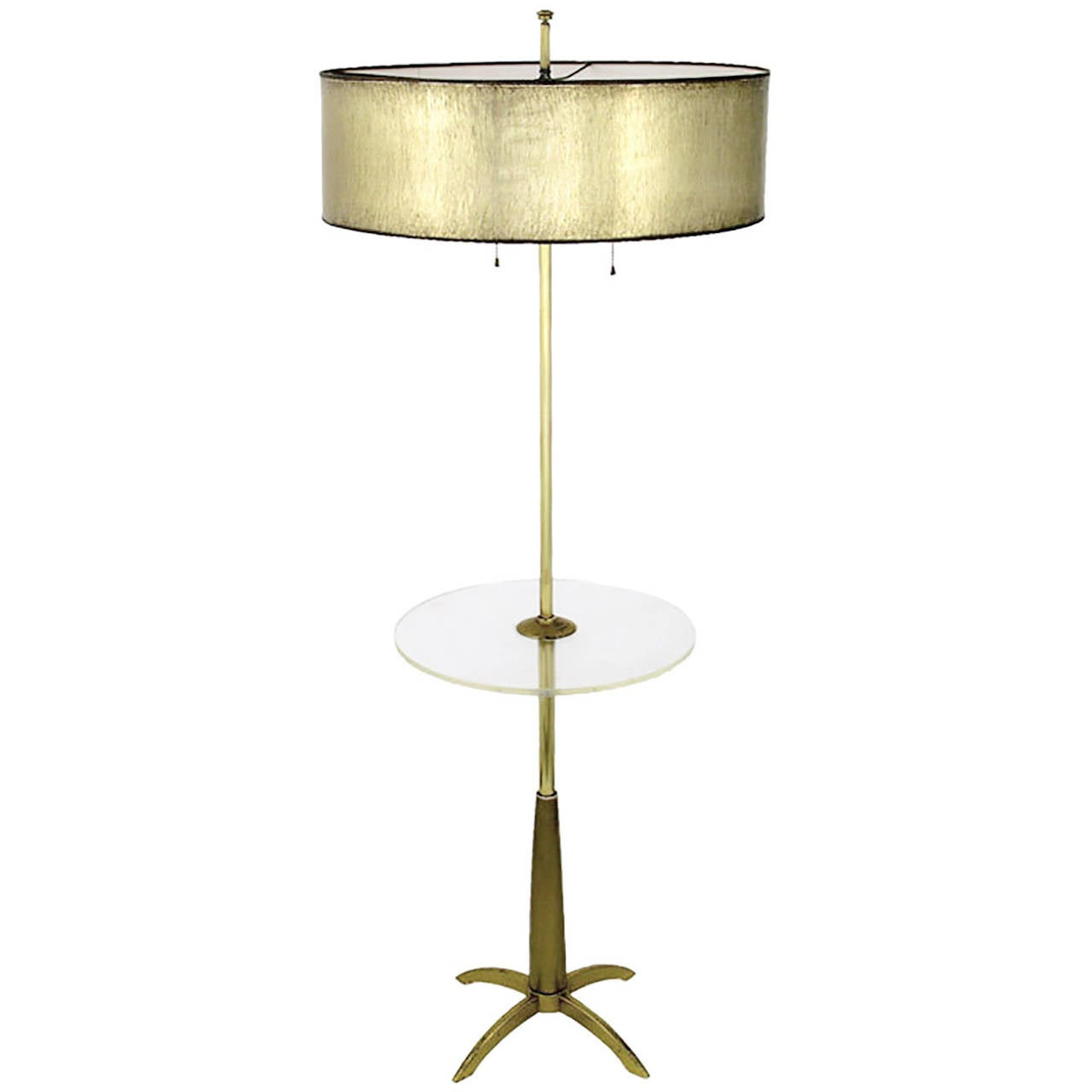 stiffel brass floor lamp with round lucite table at 1stdibs. Black Bedroom Furniture Sets. Home Design Ideas