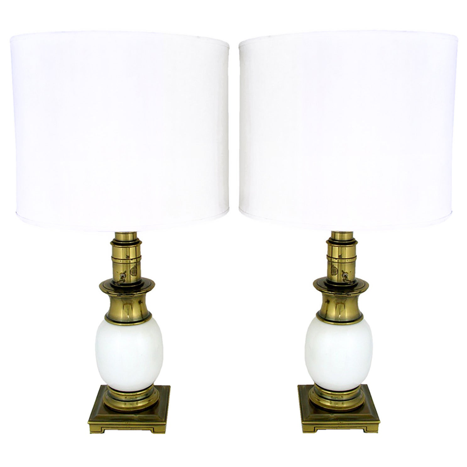 Pair of Stiffel Ostrich Egg and Antique Brass Table Lamps