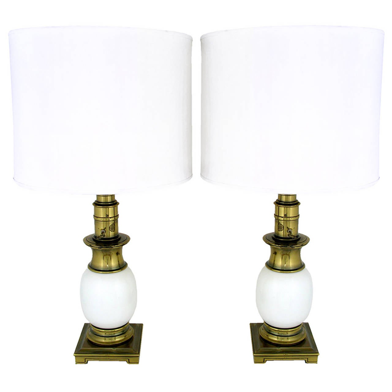 Pair of Stiffel Ostrich Egg and Antique Brass Table Lamps 1