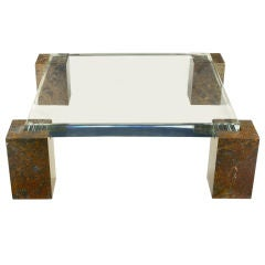 Brazilian Red Marble Coffee Table With Massive Lucite Top