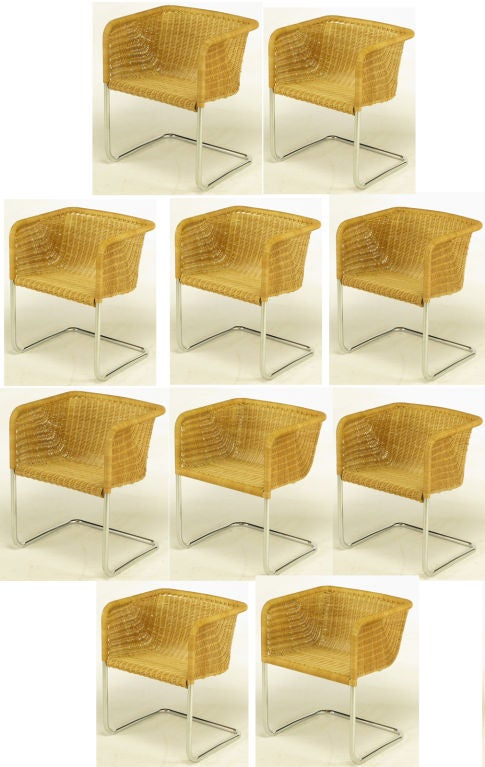 84cb2309e1d40 Set of ten cantilevered dining chairs from the. Danish Ten Fabricius   Kastholm  Chrome   Wicker ...