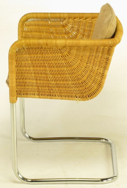 Ten Fabricius And Kastholm Chrome And Wicker Dining Chairs