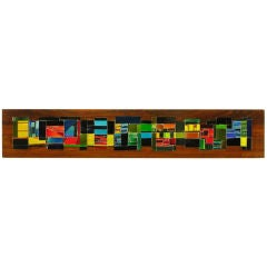 "Signed 92"" Long Colorful Glass Tile On Mahogany Mosaic"