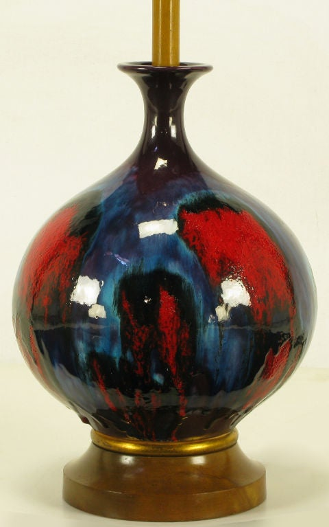 Large Blue Black And Red Gourd Form Table Lamp At 1stdibs
