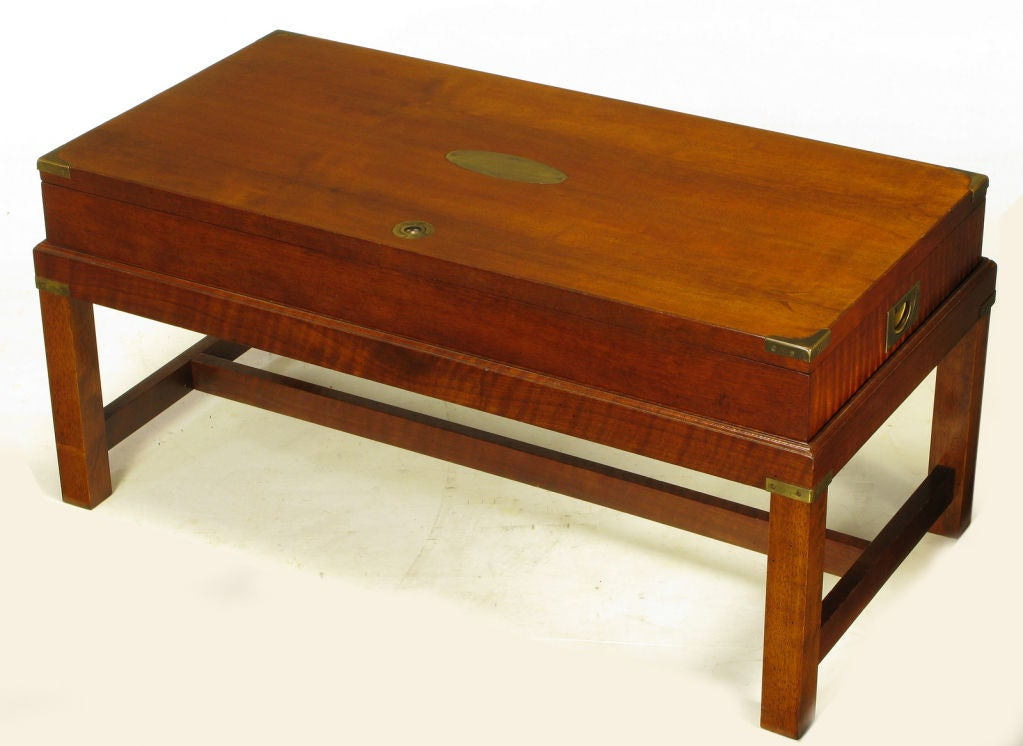 Mahogany Campaign Style Box On Stand Coffee Table At 1stdibs