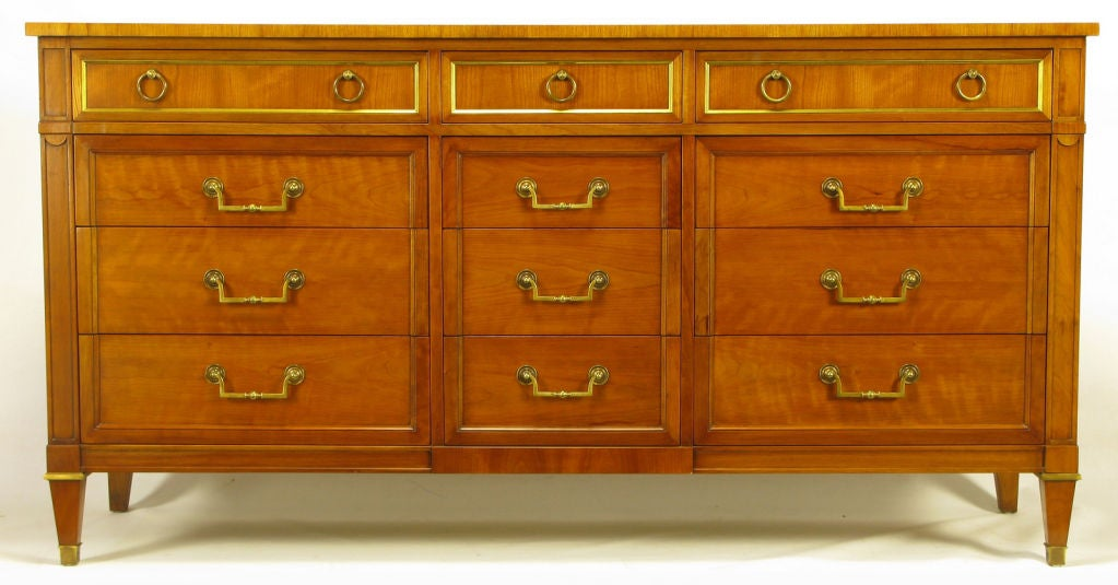 Kindel Bleached Walnut And Brass Empire Style Dresser At