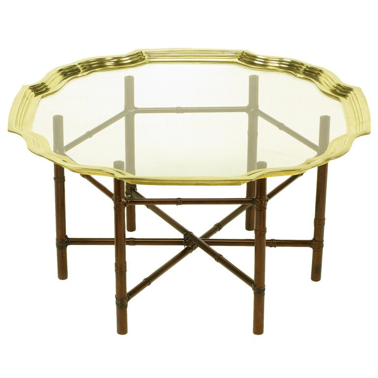Iron Bamboo Form Coffee Table With Brass Rimmed Glass Tray At 1stdibs