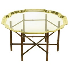 Iron Bamboo-Form Coffee Table with Brass Rimmed Glass Tray