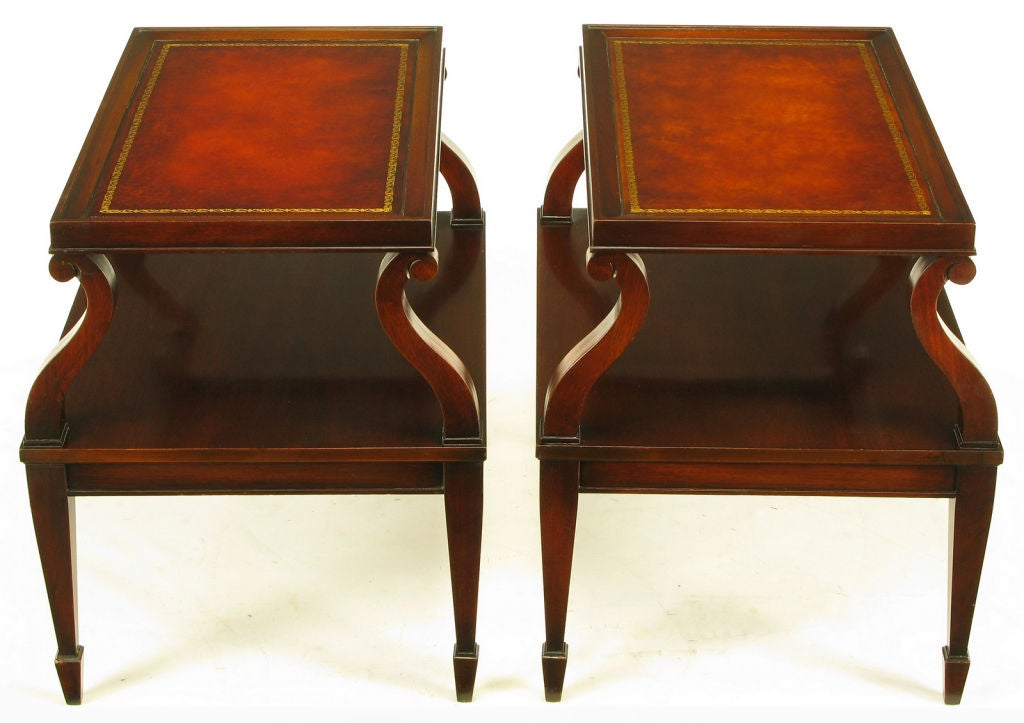 Pair Weiman Leather And Scrolled Mahogany End Tables At