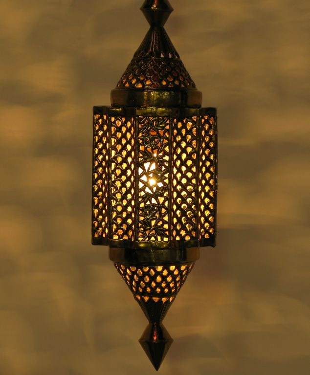 Moroccan Style Reticulated Brass Pendant Light at 1stdibs