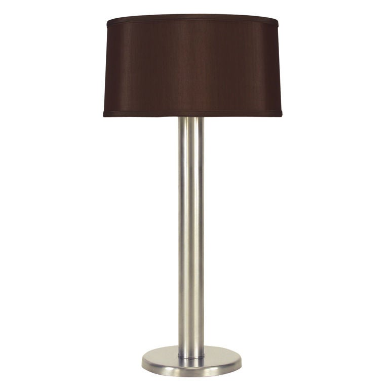 Brushed Steel Cylinder Table Lamp After Nessen.