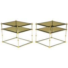 Pair Chrome, Brass, And Smoked Glass End Tables