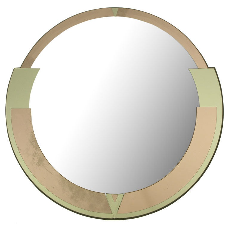 Signed David Marshall Round Deco Revival Mirror