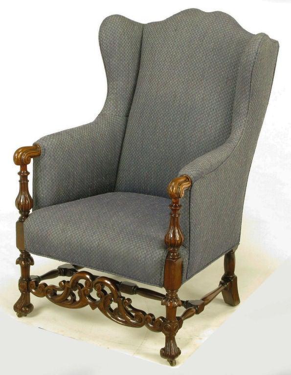 carved wood u0026 upholstered italian regency style wing chair 3