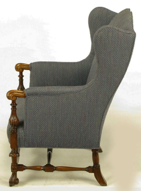 Carved Wood And Upholstered Italian Regency Style Wing