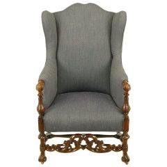 Carved Wood & Upholstered Italian Regency Style Wing Chair