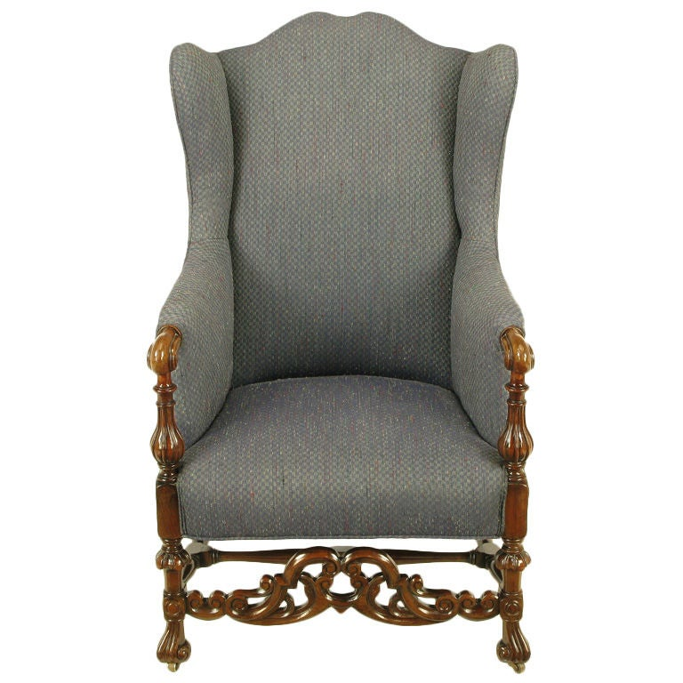 Exceptional Carved Wood U0026 Upholstered Italian Regency Style Wing Chair 1