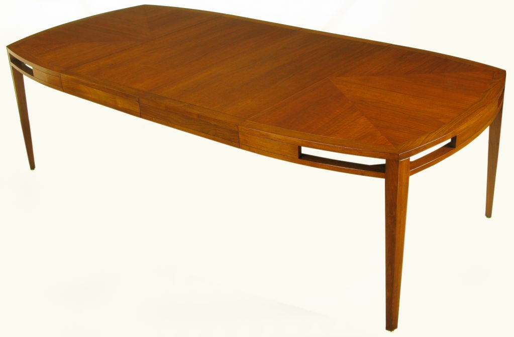 Baker Walnut Parquetry Top Open Apron Dining Table At 1stdibs