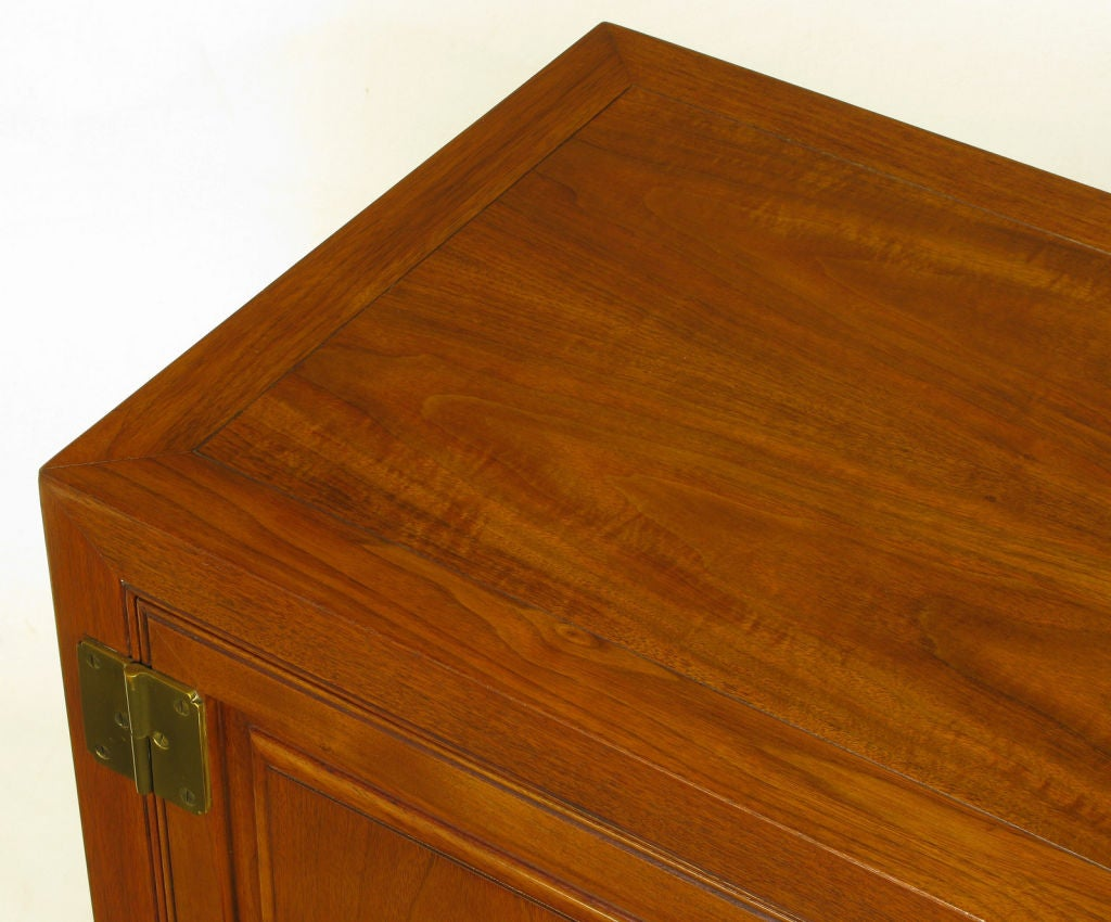 Baker Figured Walnut Two Door Cabinet At 1stdibs