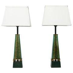 Pair 1940s Lightolier Emerald Glass Obelisk Lamps