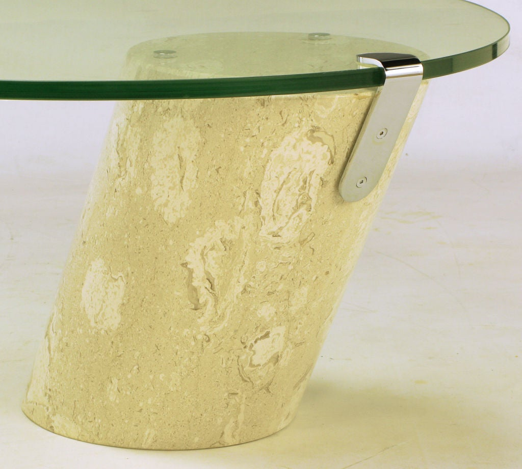 Marble And Cantilevered Oval Glass Coffee Table In The Manner Of Brueton At 1stdibs