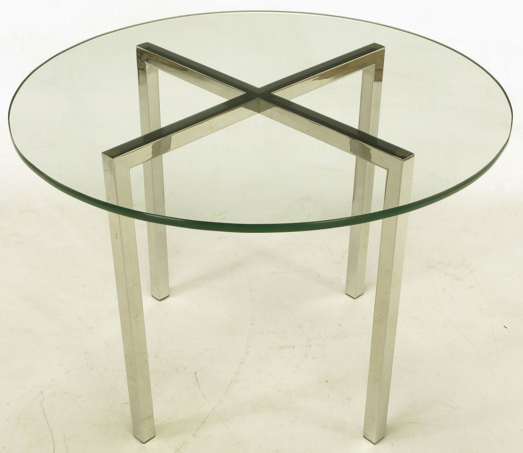 Round chrome x base and glass dining table at 1stdibs for Round glass and chrome dining table