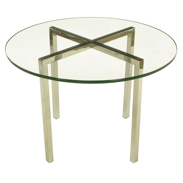 Round Chrome X Base And Glass Dining Table At 1stdibs