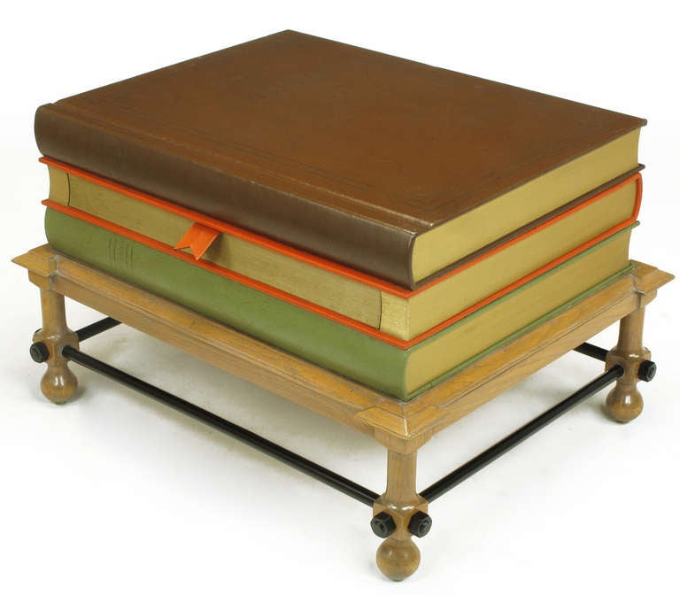 Pair Rare John Dickinson Stacked Books End Tables. 3
