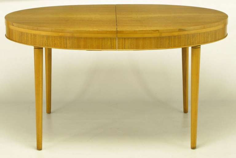 Danish Primavera Mahogany Racetrack Oval Dining Table For Sale