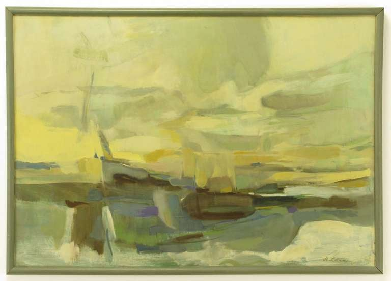 Abstract oil on art board in subtle broad stroke tones. Predominant colors are gold, yellow, teal, gray, blue, violet and brown. Clean gray lacquered wood frame. Signed B. Levin '64.