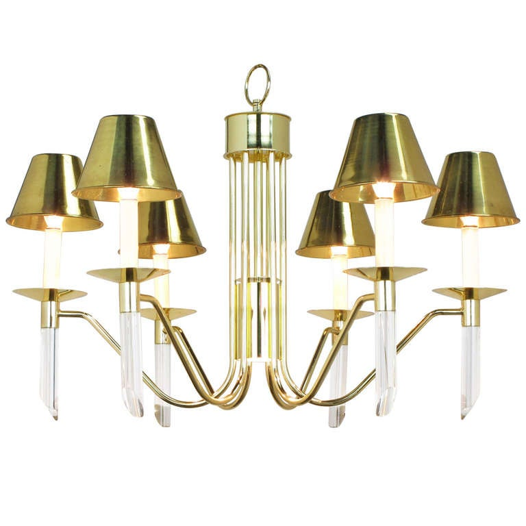 Seven Light Brass And Lucite Chandelier With Brass Shades
