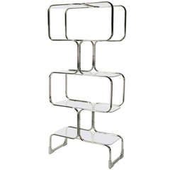 Chromed Steel and Glass Four-Shelf Etagere by Tricom, Italia