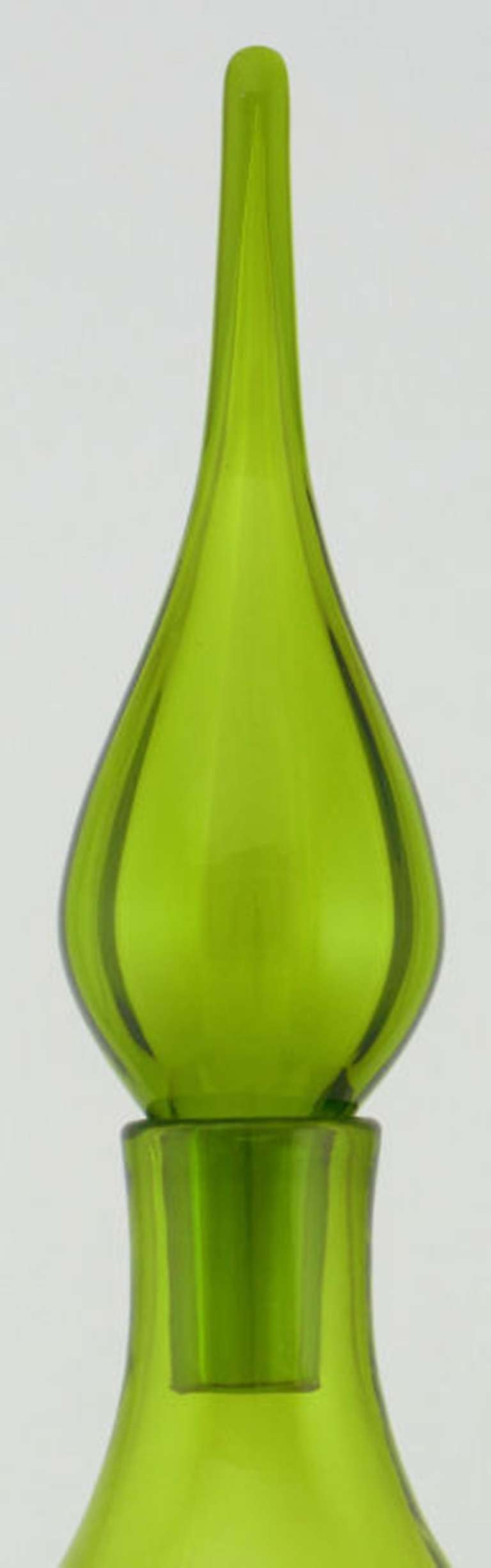 Striking 41 Quot Green Blenko Glass Decanter With Stopper At