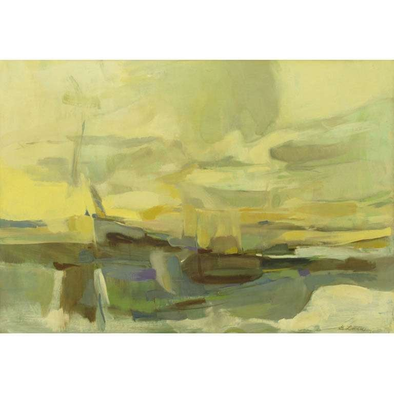 American 1964 Abstract Seascape Oil Painting By B. Levin For Sale