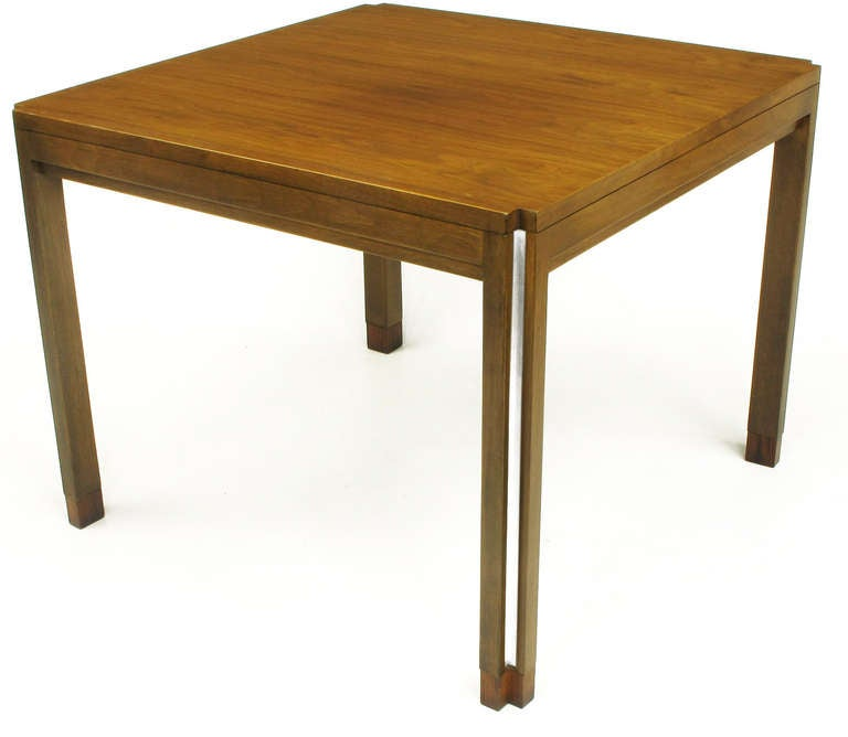 American Edward Wormley for Dunbar Walnut, Rosewood and Aluminium Inlaid End Table For Sale