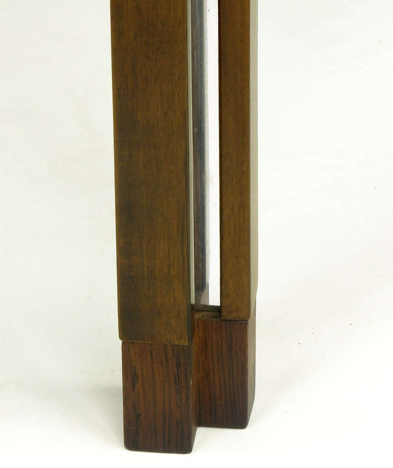 Edward Wormley for Dunbar Walnut, Rosewood and Aluminium Inlaid End Table In Excellent Condition For Sale In Chicago, IL