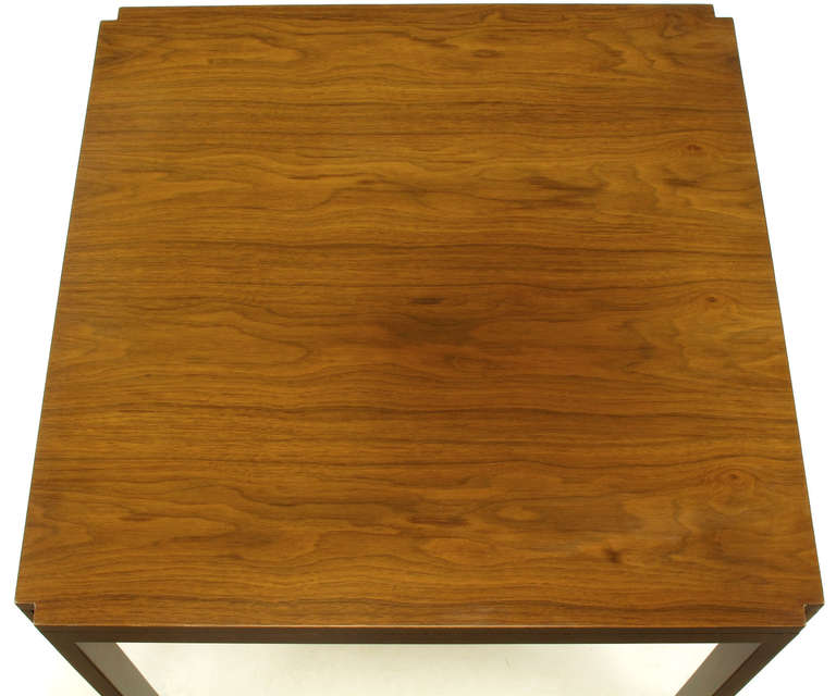 Mid-20th Century Edward Wormley for Dunbar Walnut, Rosewood and Aluminium Inlaid End Table For Sale