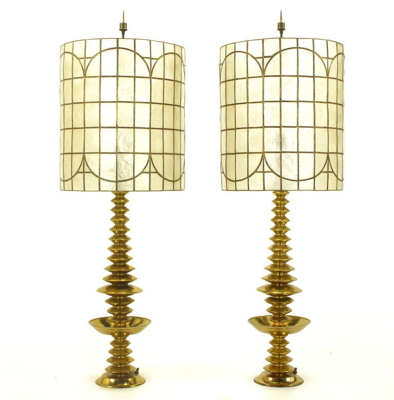 Pair of brass art deco stacked discs table lamps with capiz shell pair of stacked saucer art deco or machine age spun solid brass table lamps with matching aloadofball Images